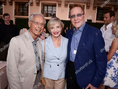 Stock Picture of From left to right, choreographer Tony Charmoli, actress Florence Henderson, and choreographer Joe Tremaine seen at the Television Academy's 67th Primetime Emmy Choreographers Nominee Reception at the Montage Beverly Hills on in Beverly Hills, Calif
