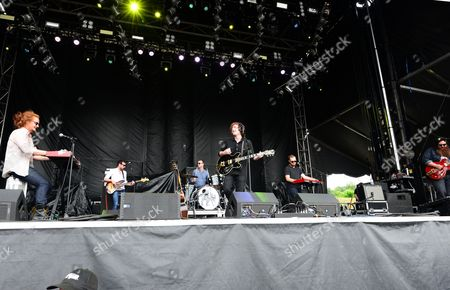 Michael Ford, Jr., Mike Harris, Ben Ford, Brett Moore, Kellen Wenrich and Steve Smith with The Apache Relay performing at the Shaky Knees Music Festival, in Atlanta