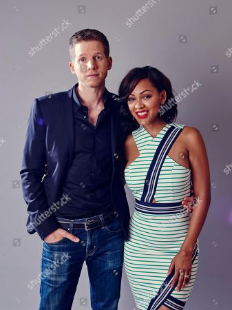 """Meagan Good, right, and Stark Sands, from """"Minority Report"""", poses for a portrait during the Fox 2015 Television Critics Association Summer Press Tour at the Beverly Hilton, in Beverly Hills, Calif"""