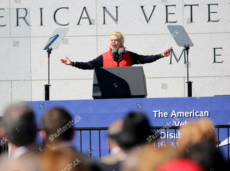 Lois Pope Chairman of the DVLMF speaks during the dedication ceremony of the American Veterans Disabled for Life Memorial, in Washington DC