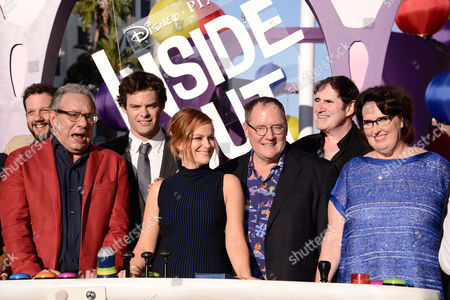 """Michael Giacchino, and from left, Lewis Black, Bill Hader, Amy Poehler, John Lasseter, Richard Kind and Phyllis Smith are seen at the Los Angeles premiere of """"Inside Out"""" at the El Capitan Theatre on"""