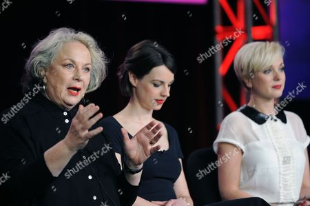 From left, Pam Ferris, Jessica Raine, and Helen George attend the PBS Winter TCA Tour at the Langham Huntington Hotel, in Pasadena, Calif
