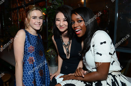 """Kiernan Shipka, and from left, Annie Q. and Aja Naomi King attend the PEOPLE """"Ones to Watch"""" Party at The Line Hotel, in Los Angeles"""