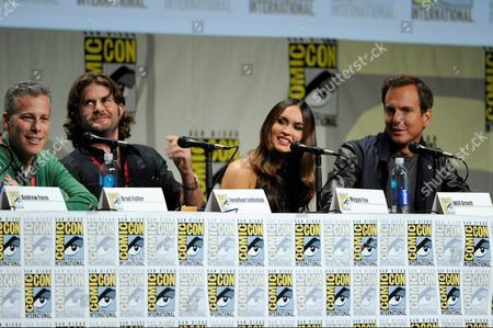 """From left, Bradley Fuller, Jonathan Liebesman, Megan Fox and Will Arnett attend the """"Paramount Pictures"""" panel on Day 1 of Comic-Con International, in San Diego"""