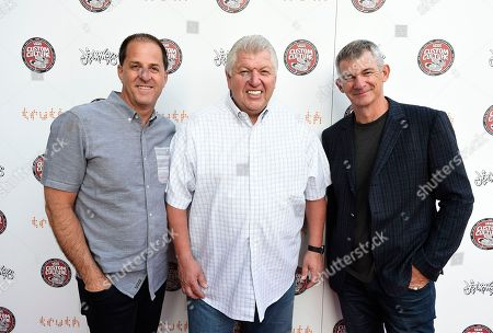 Stock Image of Doug Palladini, Vans general manager, North America, from left, Jim Estepa, Journeys CEO, and Kevin Bailey, Vans president, attend the 2016 Vans Custom Culture design competition event in Los Angeles on