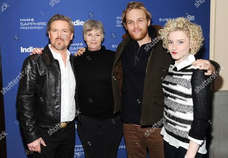 "Actors Bill Sage, left, Kelly McGillis, Jim Mickle and Julia Garner from the film ""We Are What We Are"" visits the IndieWire Studio at Chase Sapphire on Main Street during the Sundance Film Festival on in Park City, Utah"