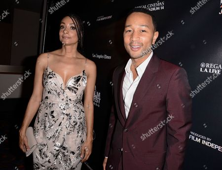 "Singer and executive producer John Legend, right, and director Delila Vallot attend the Los Angeles Film Festival premiere of ""Can You Dig This?"" in Los Angeles on"