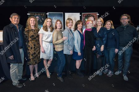 """Florist Chris Matsumoto, Treasury Wine Estates public relations director Elizabeth Hooker, Champagne Taittinger's Vitalie Taittinger, SAG Awards executive producer Kathy Connell, SAG Foundation Board President JoBeth Williams, The Screen Actors Guild Foundation Executive Director Cyd Wilson, actress Shelley Fabares, PEOPLE Magazine Editor Jen Garcia, SAG Awards event supervisor Andrea Wyn Schall and interior decorator Keith Greco working at the SAG Awards """"behind the scenes day"""" held at the L.A. Shrine Exposition Center, in Los Angeles"""