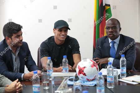 Former Brazilian and Barcelona soccer player Rivaldo (C), flanked by former Barcelona trainee Rayco Garcia (L) and Zimbabwean minister of Sport and Reacreation Makhosini Hlongwane (R) as they talk to media in Harare, Zimbabwe, 03 October 2017. Rivaldo is in Zimbabwe to promote a soccer match between former Barcelona players and Zimbabwe national team to be played in Zimbabwe in November 2017.