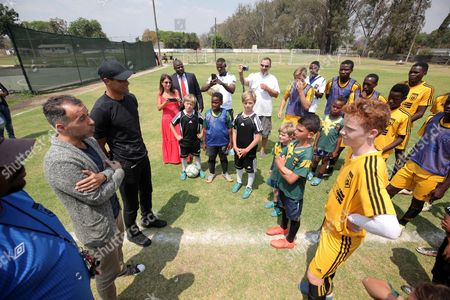 Former Brazilian and Barcelona soccer player Rivaldo (3L), with Legends Academy trainees at Hellenic Sports Club in Harare, Zimbabwe, 03 October 2017. Rivaldo is in Zimbabwe to promote a soccer match between former Barcelona players and Zimbabwe national team to be played in Zimbabwe in November 2017.