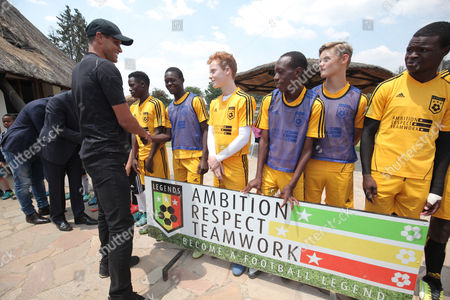 Former Brazilian and Barcelona soccer player Rivaldo (3L), greets Legends Academy trainees at Hellenic Sports Club in Harare, Zimbabwe, 03 October 2017. Rivaldo is in Zimbabwe to promote a soccer match between former Barcelona players and Zimbabwe national team to be played in Zimbabwe in November 2017.