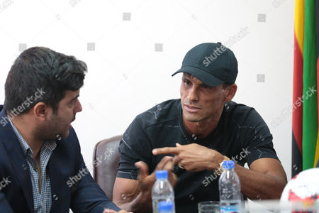 Former Brazilian and Barcelona soccer player Rivaldo (R) flanked by former Barcelona trainee Rayco Garcia (L) as they talk to media in Harare, Zimbabwe, 03 October 2017. Rivaldo is in Zimbabwe to promote a soccer match between former Barcelona players and Zimbabwe national team to be played in Zimbabwe in November 2017.