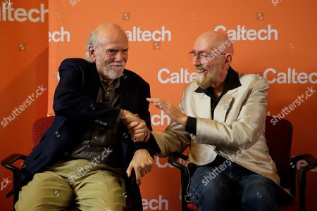 Barry Barish, Kip Thorne. Scientists Barry Barish, left, and Kip Thorne, both of the California Institute of Technology, shake hands during a news conference, in Pasadena, Calif. Barish and Thorne won the Nobel Physics Prize on Tuesday for detecting faint ripples flying through the universe, the gravitational waves predicted a century ago by Albert Einstein that provide a new understanding of the universe