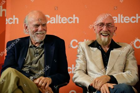Barry Barish, Kip Thorne. Scientists Barry Barish, left, and Kip Thorne, both of the California Institute of Technology, smile during a news conference, in Pasadena, Calif. Barish and Thorne won the Nobel Physics Prize on Tuesday for detecting faint ripples flying through the universe, the gravitational waves predicted a century ago by Albert Einstein that provide a new understanding of the universe