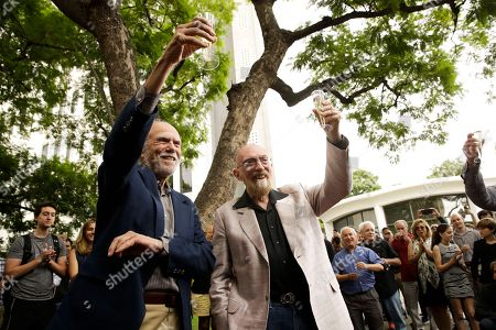 Barry Barish, Kip Thorne. Scientists Barry Barish, left, and Kip Thorne, both of the California Institute of Technology, share a toast to celebrate winning the Nobel Prize in Physics, in Pasadena, Calif. Barish and Thorne won the Nobel Physics Prize on Tuesday for detecting faint ripples flying through the universe, the gravitational waves predicted a century ago by Albert Einstein that provide a new understanding of the universe