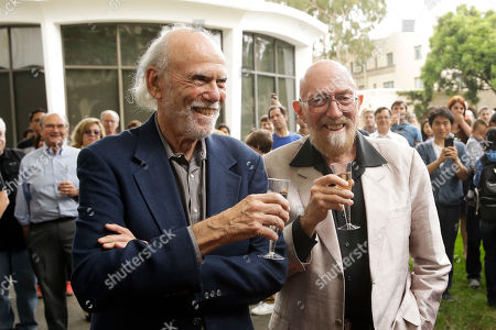 Barry Barish, Kip Thorne. Scientists Barry Barish, left, and Kip Thorne, both of the California Institute of Technology, celebrate winning the Nobel Prize in Physics, in Pasadena, Calif. Barish and Thorne won the Nobel Physics Prize on Tuesday for detecting faint ripples flying through the universe, the gravitational waves predicted a century ago by Albert Einstein that provide a new understanding of the universe