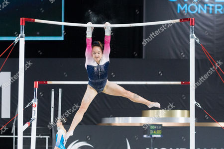 Amy Tinkler of Great Britain (557) during the women's qualifications of the Artistic Gymnastics World Championships at Olympic Stadium in Montreal, Canada