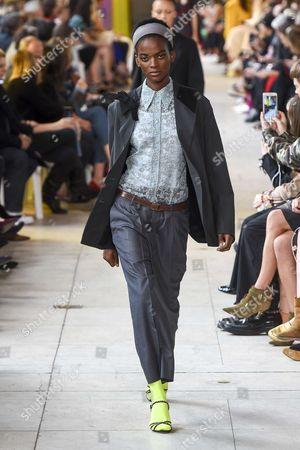 Stock Photo of Aube Jolicoeur on the catwalk