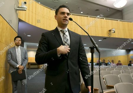 Conservative writer Ben Shapiro speaks during the first of several legislative hearings planned to discuss balancing free speech and public safety, in Sacramento, Calif. Shapiro told lawmakers that they must protect speech even if they disagree with the message