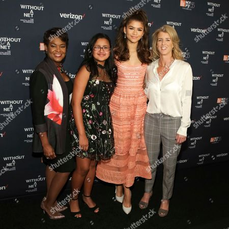 "Rose Stuckey Kirk, Amanda Acevedo, Zendaya, Rory Kennedy. Chief Corporate Social Responsibility Officer at Verizon/Executive Producer Rose Stuckey Kirk, from left, documentary subject Amanda Acevedo, actress Zendaya and director Rory Kennedy attend a special screening of ""Without a Net: The Digital Divide in America"", during the 55th New York Film Festival, at Walter Reade Theater, in New York"