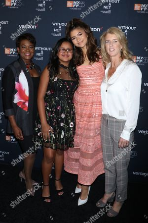 Rose Stuckey Kirk, Chief Corporate Social Responsibility Office at Verizon, Amanda Acevedo, Zendaya and Rory Kennedy, Director