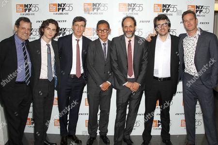 Howard Rosenman (Producer), Timothee Chalamet, Peter Spears (Producer), Denis Lin (Dir. Programming NYFF), Luca Guadagnino (Director), Rodrigo Teixeira (Producer), Armie Hammer