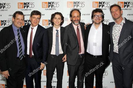 Howard Rosenman (Producer), Peter Spears (Producer), Timothee Chalamet, Luca Guadagnino (Director), Rodrigo Teixeira (Producer), Armie Hammer