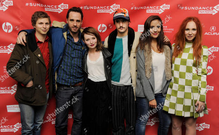 """Chilean director Sebastian Silva, second from left, writer/director of """"Magic Magic,"""" poses with cast members, from left, Michael Cera, Emily Browning, Agustin Silva, Catalina Sandino and Juno Temple at the premiere of the film at the 2013 Sundance Film Festival, in Park City, Utah"""