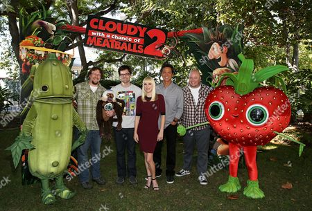 """From left, Director Kris Pearn, Bill Hader, Anna Faris, Benjamin Bratt and Director Cody Cameron pose with characters during a press day event for the movie """"Cloudy With A Chance Of Meatballs 2"""" held at Sony Pictures Animation, in Culver City, California"""