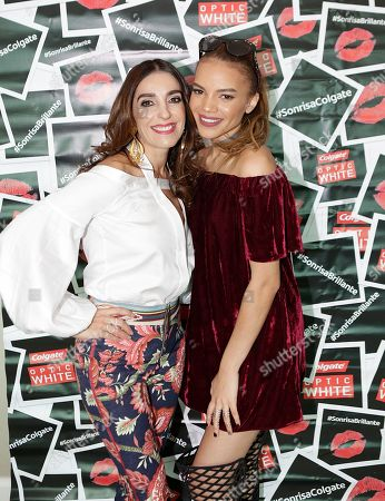 Kika Rocha, left, and Leslie Grace attend the Colgate Optic White Beauty Bar event at the Four Seasons Hotel on in Las Vegas