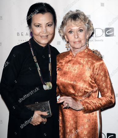 Tippi Hendren, right, and Kieu-Chinh attend the Hollywood Legend Tippi Hedren being honored at The Peninsula Hotel on in Beverly Hills, Calif
