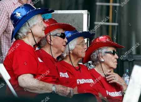 The Bonnagrannies, from left, Mary Neiderhauser, Alice Ann Barge, Laddie Neil and Nancy Lee Pitts watch as Chris Stapleton performs at the Bonnaroo Music and Arts Festival, in Manchester, Tenn