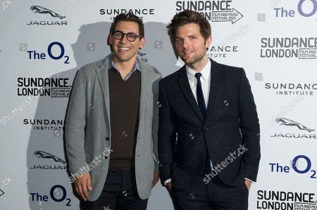 From left, director, Stuart Zicherman and U.S actor, Adam Scott arrive for the A.C.O.D premiere at the Sundance Film Festival in London