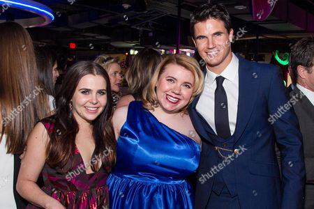 """Mae Whitman, from left, Kody Keplinger and Robbie Amell arrive at the Los Angeles Fan Screening of """"THE DUFF"""", in Los Angeles"""