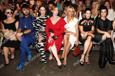 Kelly Osbourne, from left, Brad Walsh, Coco Rocha, Christina Hendricks, Pamela Anderson, Neve Campbell and Jaimie Alexander attend the Christian Siriano fashion show during NYFW Spring/Summer 2017 at Artbeam, in New York
