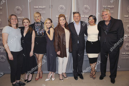 """Netflix VP, Original Content Cindy Holland, Natasha Lyonne, Taylor Schilling, Taryn Manning, Kate Mulgrew, Netflix Chief Content Officer Ted Sarandos, Selenis Leyva and Michael Harney seen at PaleyLive LA Event with Netflix's """"Orange is the New Black"""", in Beverly Hills, Calif"""
