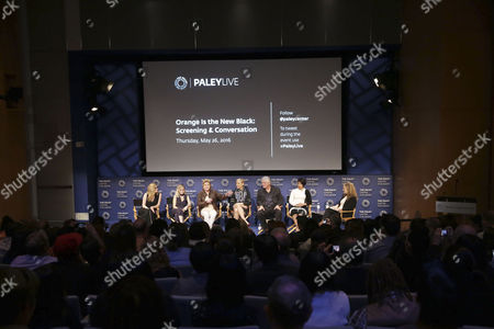 """Natasha Lyonne, Taryn Manning, Kate Mulgrew, Taylor Schilling, Michael Harney, Selenis Leyva and moderator Krista Smith seen at PaleyLive LA Event with Netflix's """"Orange is the New Black"""", in Beverly Hills, Calif"""
