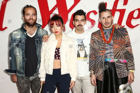 Jack Lawless, JinJoo Lee, Joe Jonas, Cole Whittle. Jack Lawless, from left, JinJoo Lee, Joe Jonas and Cole Whittle of music group DNCE attend the Grand Opening of Westfield Century City held at Westfield Century City, in Century City, Calif