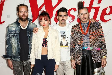 Jack Lawless, JinJoo Lee, Joe Jonas, Cole Whittle. Jack Lawless, from left, JinJoo Lee, Joe Jonas and Cole Whittle of music group DNCE attend the Grand Opening of Westfield Century City held at Westfield Century City, in Los Angeles