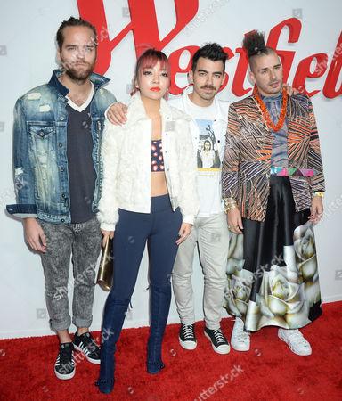 Jack Lawless, JinJoo Lee, Joe Jonas, and Cole Whittle of music group DNCE