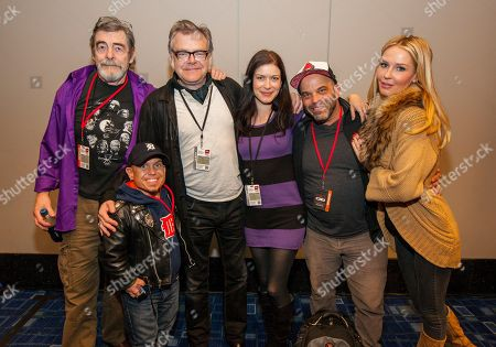Actors David Bailie, Martin Klebba, Kevin McNally, Lauren Maher, Lee Arenberg and Vanessa Branch attend the Pirates of the Caribbean panel at the Chicago Comic & Entertainment Expo at McCormick Place, in Chicago