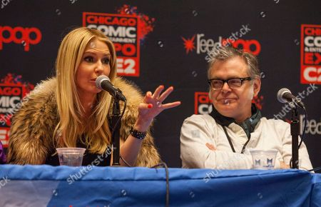 Actors Vanessa Branch and Kevin McNally attend the Pirates of the Caribbean panel at the Chicago Comic & Entertainment Expo at McCormick Place, in Chicago