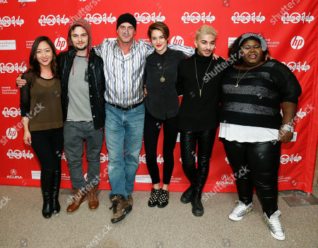 "Stock Photo of Cast members from left to right, Brenda Koo, Shiloh Fernandez, Christopher Meloni, Shailene Woodley, Mark Indelicato and Gabourey Sidibe pose together at the premiere of the film ""White Bird in a Blizzard"" during the 2014 Sundance Film Festival, on in Park City, Utah"