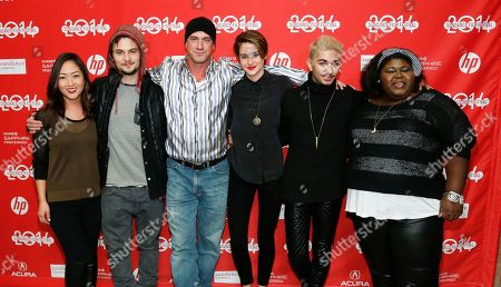"Cast members, from left to right, Brenda Koo, Shiloh Fernandez, Christopher Meloni, Shailene Woodley, Mark Indelicato and Gabourey Sidibe pose together at the premiere of the film ""White Bird in a Blizzard"" during the 2014 Sundance Film Festival,, in Park City, Utah"