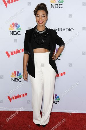 "The Voice contestant India Carney arrives at Season 8 of ""The Voice"" Red Carpet Event held at the Pacific Design Center, in West Hollywood, Calif"