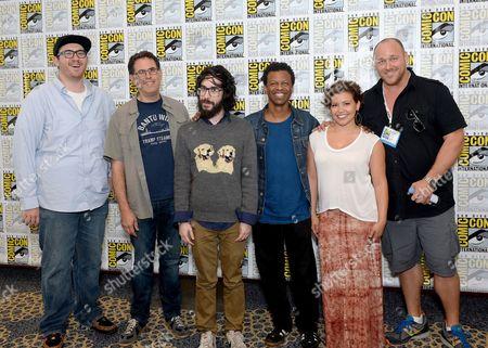 "From left, Peter Atencio, creator David A. Goodman, creator Jason Ruiz, Phil Lamarr, Justina Machado and Will Sasso attend the FOX ""Murder Police"" press room on Day 2 of Comic-Con International on in San Diego, Calif"