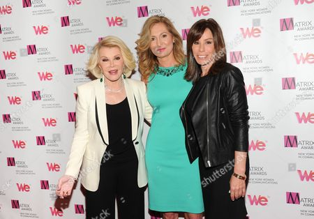Host Joan Rivers, left, WE TV President and General Manager Kim Martin and television personality Melissa Rivers attend the 2013 Matrix New York Women in Communications Awards at the Waldorf-Astoria Hotel on in New York