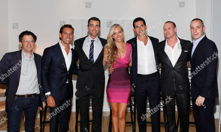 Panelists Michael Gross, Clayton Orrigo, Noble Black, Melanie Lazenby, Oren Alexander, Tal Alexander and Dan Peres pose at the Rockstars of Real Estate Event hosted by Editor-in-Chief of DETAILS Magazine Dan Peres on in New York
