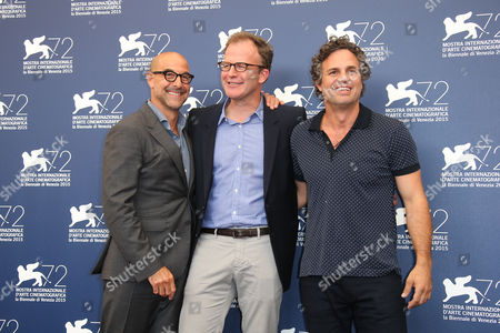 Stanley Tucci, Thomas McCarthy and Mark Ruffalo pose for photographers at the photo call for the film Spotlight during the 72nd edition of the Venice Film Festival in Venice, Italy, . The 72nd edition of the festival runs until Sept. 12