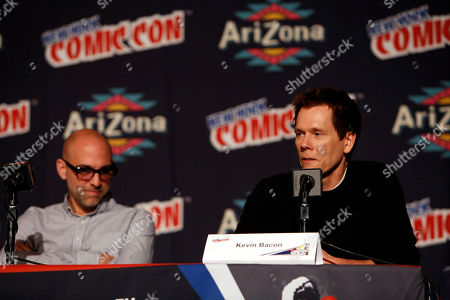 """From left, Marcos Siega and Kevin Bacon participate in FOX's """"The Following"""" panel during New York Comic Con, on at Javits Convention Center, in New York City, NY"""